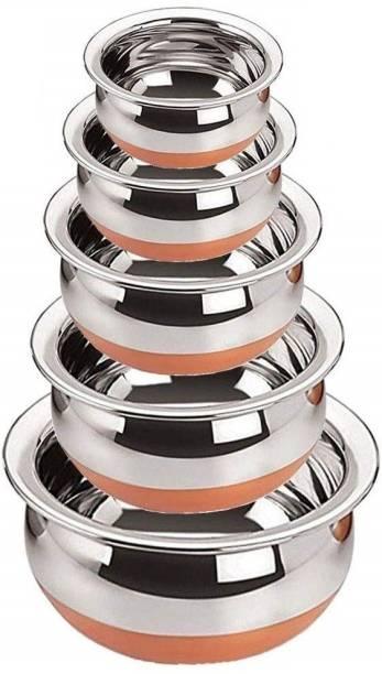 Redific STAINLESS STEEL COPPER BOTTOM HANDI/COOKWARE URLI/HANDI/TOPE/COOKWARE/SERVEWARE/STOREWARE HANDI SET OF 5 PIECE 0.65 L, 0.4 L, 0.85 L, 1.2 L, 1.6 L (Gas compatible and Non Induction compatible copper bottom, Non-stick) Cookware Set (Stainless Steel, 5 - Piece) Cookware Set