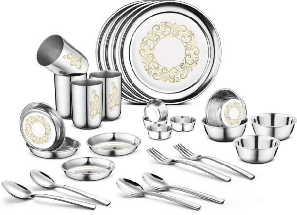 Jensons Pack of 32 Stainless Steel Stainless Steel Rangoli Dinner Set -32 Pcs-Silver- Heavy Gauge with Permanent Laser Design Dinner Set