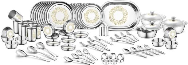 Jensons Pack of 91 Stainless Steel Stainless Steel Rangoli Dinner Set -91 Pcs-Silver- Heavy Gauge with Permanent Laser Design Dinner Set