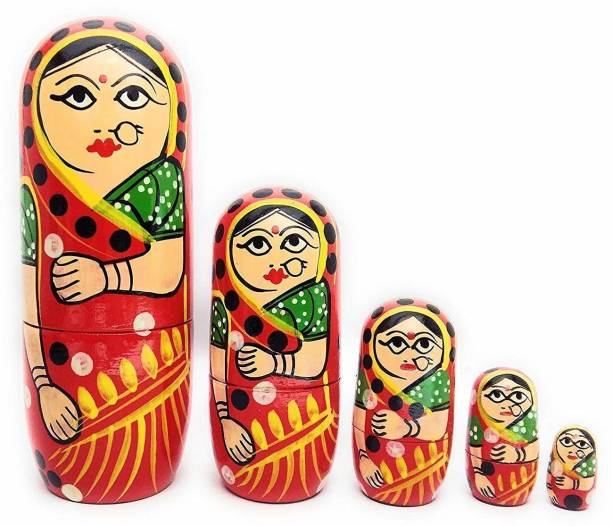 Smartcraft Russian Doll Set, Traditional Indian Wooden Nesting Doll, Stacking Dolls- Set of 5