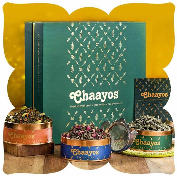 Chaayos Premium Tea Gift Box | Perfect Festival Gift | Immunity Boosting Green Teas & Infuser | Wellness Gift Hamper Combo