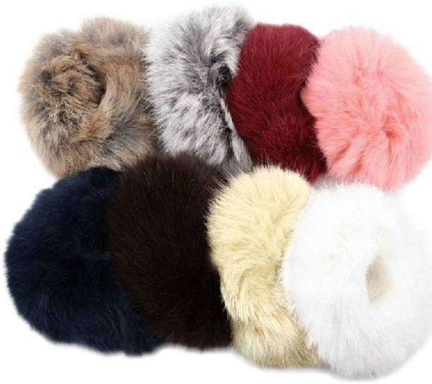 Fancyy Charming Elastic Fluffy Faux Rope Furry Ring Hair Band Girls 6 Pieces Rubber Band Rubber Band (Multicolor) Rubber Band
