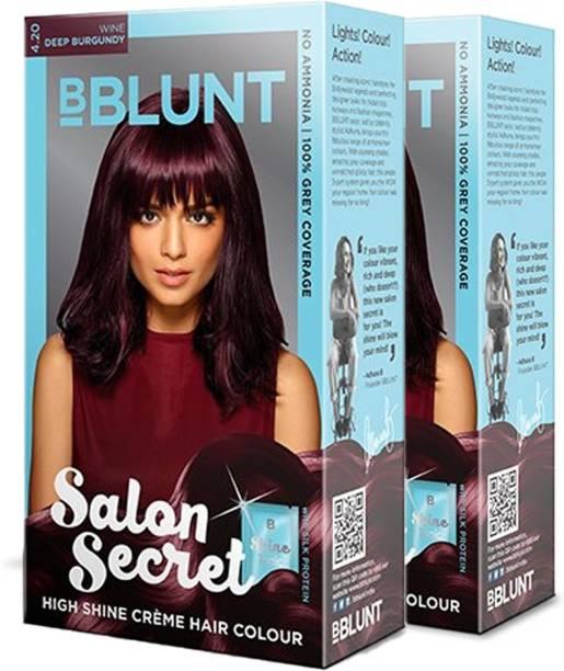 BBlunt Salon Secret High Shine Creme Hair Colour Deep Burgundy 4.20(2 x 100g) with Shine Tonic 8ml , Deep Burgundy 4.20
