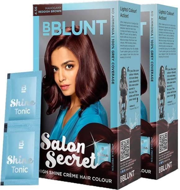 BBlunt Salon Secret High Shine Creme Hair Colour Reddish Brown 4.56(2 x 100g) with Shine Tonic 8ml , Reddish Brown 4.56