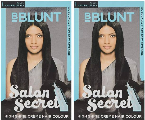 BBlunt Salon Secret High Shine Creme Hair ColourNatural Black 1(2 x 100g) with Shine Tonic 8ml , Natural Black 1