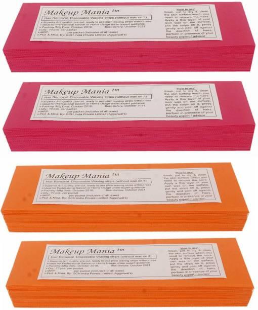 Makeup Mania Non-Woven Body Wax Strips, Hair Removal Waxing Strips for Face, Legs, Underarms, Facial Eyebrow, Disposable Strips (Pink, Orange) Strips