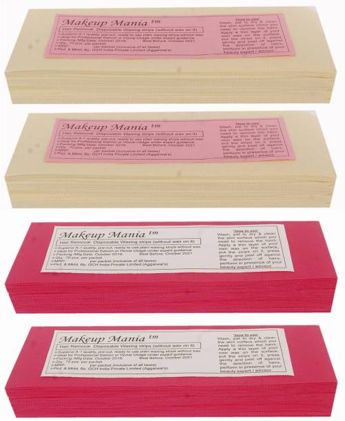 Makeup Mania Non-Woven Body Wax Strips, Hair Removal Waxing Strips for Face, Legs, Underarms, Facial Eyebrow, Disposable Strips (Ivory, Pink) Strips