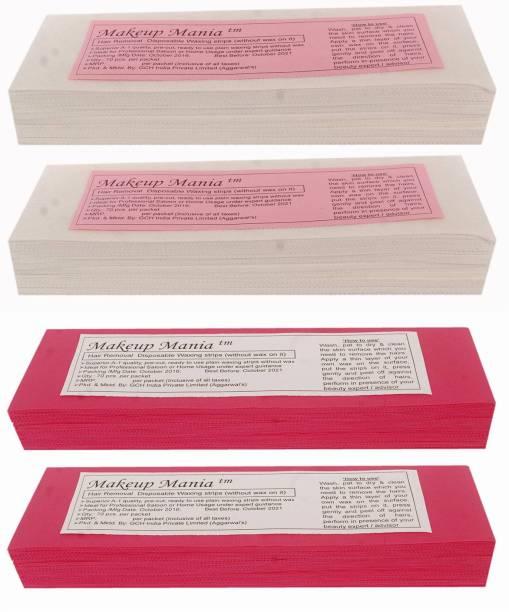 Makeup Mania Non-Woven Body Wax Strips, Hair Removal Waxing Strips for Face, Legs, Underarms, Facial Eyebrow, Disposable Strips (White, Pink) Strips