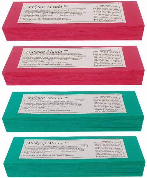 Makeup Mania Non-Woven Body Wax Strips, Hair Removal Waxing Strips for Face, Legs, Underarms, Facial Eyebrow, Disposable Strips (Pink, Green) Strips
