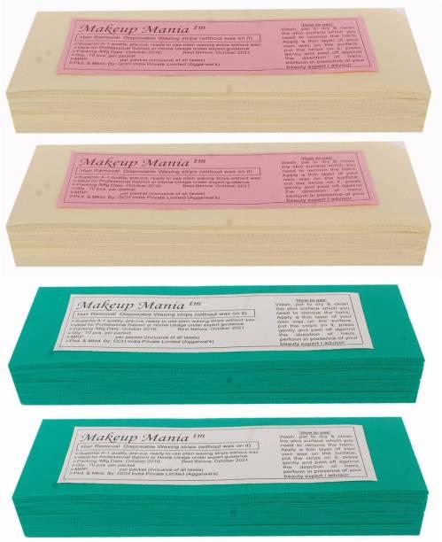Makeup Mania Non-Woven Body Wax Strips, Hair Removal Waxing Strips for Face, Legs, Underarms, Facial Eyebrow, Disposable Strips (Ivory, Green) Strips