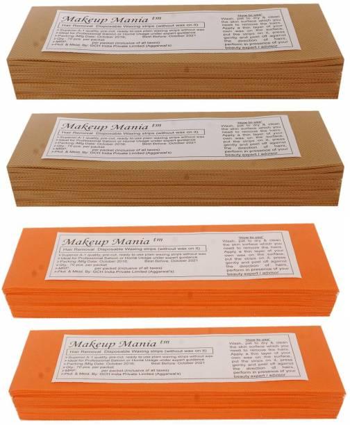 Makeup Mania Non-Woven Body Wax Strips, Hair Removal Waxing Strips for Face, Legs, Underarms, Facial Eyebrow, Disposable Strips (Brown, Orange) Strips