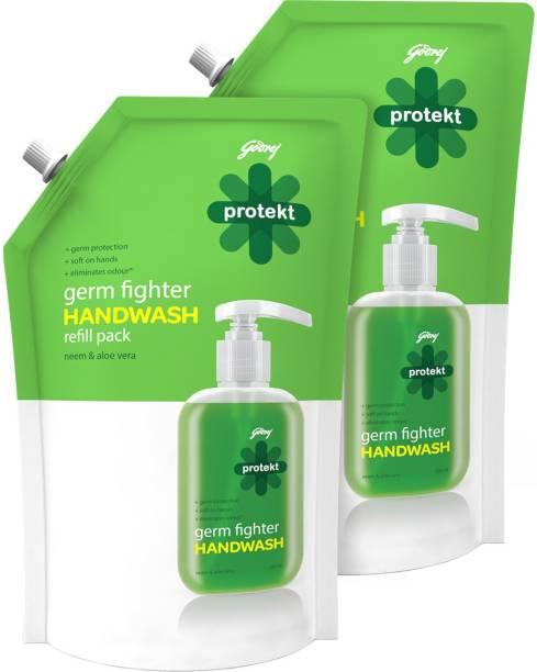 Godrej Protekt Germ Fighter Handwash Refill NEEM & ALOE VERA (2 X 750ml) Hand Wash Pouch