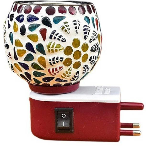 Ptathna Prathna® Ceramic Aroma Diffuser | Kapoor Dani Cum Night Lamp Premium Multi Functional Essential Oil Camphor Burner for Fragrance with Switch ON/Off Button for Heating DN_17 Steel Incense Holder