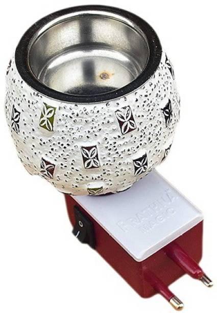 Ptathna Prathna® Electric Kapoor Dani Stand Kapur Incense Burner/Beautiful Smart Ceramic Kapoor Dani/Aroma Oil Burner Cum Night Lamp with Switch Design DN_15 Steel Incense Holder