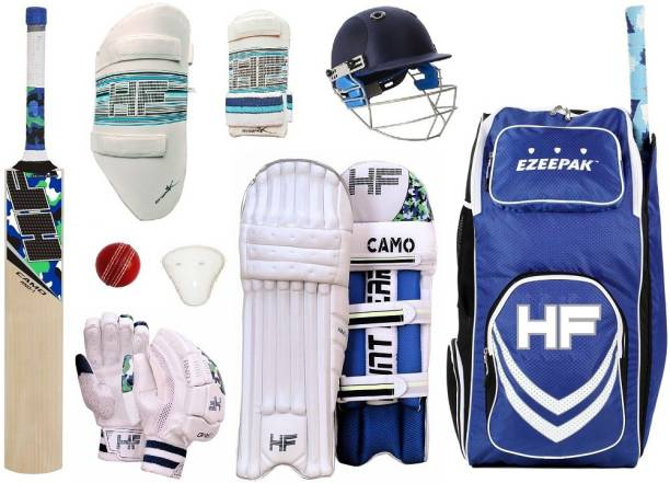 HF BLUEMAXX ENGLISH WILLOW Camo Full Size ( Ideal for 15-21 years ) Complete Cricket Kit