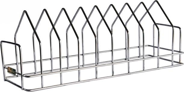 LivingBasics Anti Rust Stainless Steel 10 Sections Triangle Shape Dish Stand Plate Rack Lid Organizer for Kitchen Plate Kitchen Rack