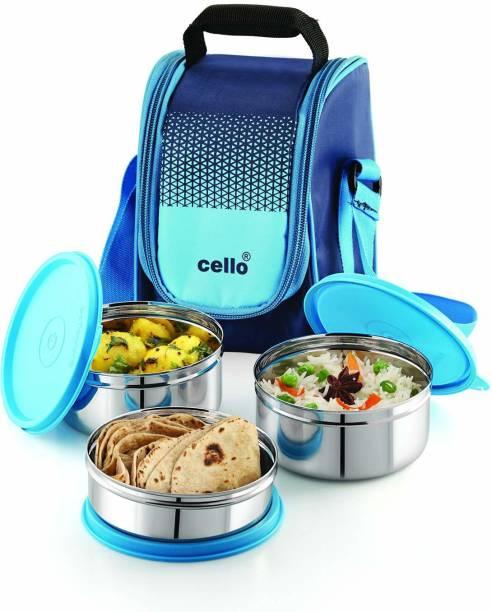 cello Max Fresh Fresh Matiz Lunch Box 3 steel Blue 3 Containers Lunch Box