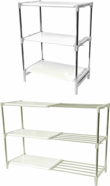 LivingBasics Rust-Free Stainless Steel Adjustable Multipurpose Stand for Kitchen Storage/Microwave & OTG Rack/Shoe Rack/Bathroom Stand/Office Organizer/Bookshelf Stainless Steel Wall Shelf