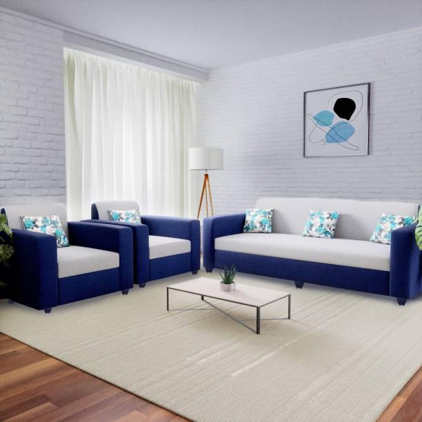 Flipkart Perfect Homes Emma Fabric 3 + 1 + 1 Blue and Grey Sofa Set