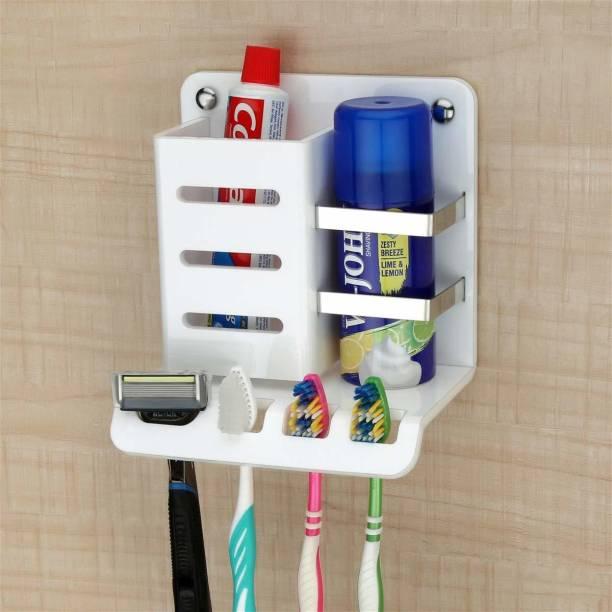 Plantex High Grade Acrylic Multipurpose Tooth Brush Holder/Stand/Tumbler for Bathroom Accessories for Home - (White) Acrylic Toothbrush Holder