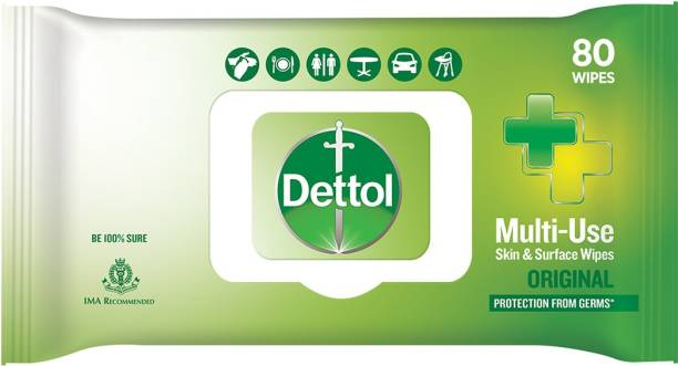 DETTOL Disinfectant Skin & Surface Wipes, Original - 80 Count| Safe on Skin| Ideal to Clean Multiple Surfaces| Resealable lock-lid