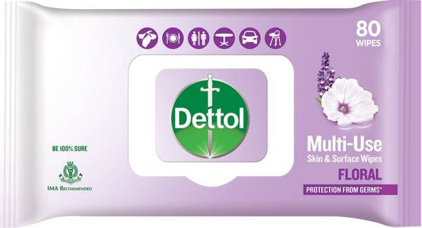 DETTOL Disinfectant Skin & Surface Wipes, Floral - 80 Count | Safe on Skin| Ideal to Clean Multiple Surfaces| Resealable lock-lid