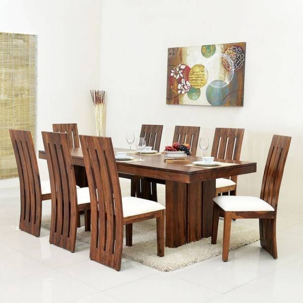 Suncrown Furniture Sheesham Wood Dining Table Set for Living Room Solid Wood 8 Seater Dining Set