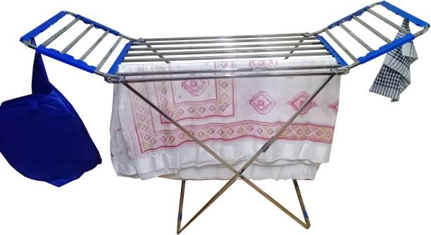 TNC Steel, Plastic Floor Cloth Dryer Stand SQUARE STAND-SS-BLUE-002