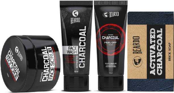 BEARDO Activated Charcoal Facewash with Charcoal Scrub, Soap and Peel Off Mask Combo