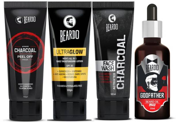 BEARDO Godfather Lite Beard Oil with Activated Charcoal Facewash, Activated Charcoal Peel off Mask and Ultraglow Lotion After Lotion Combo