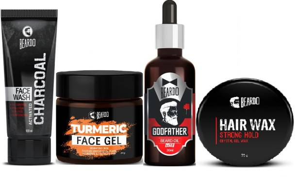 BEARDO Activated charcoal Facewash with Godfather Oil, Strong Hold Wax and Turmeric Face Gel Combo