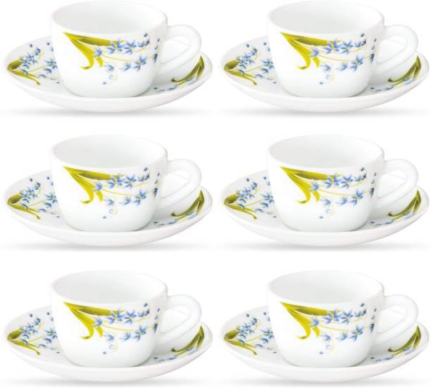 BOROSIL Opalware Present LAVENDER 6 pcs cup saucer Set {Cup 140ml (6 pcs)    Saucer 135mm (6 pcs)