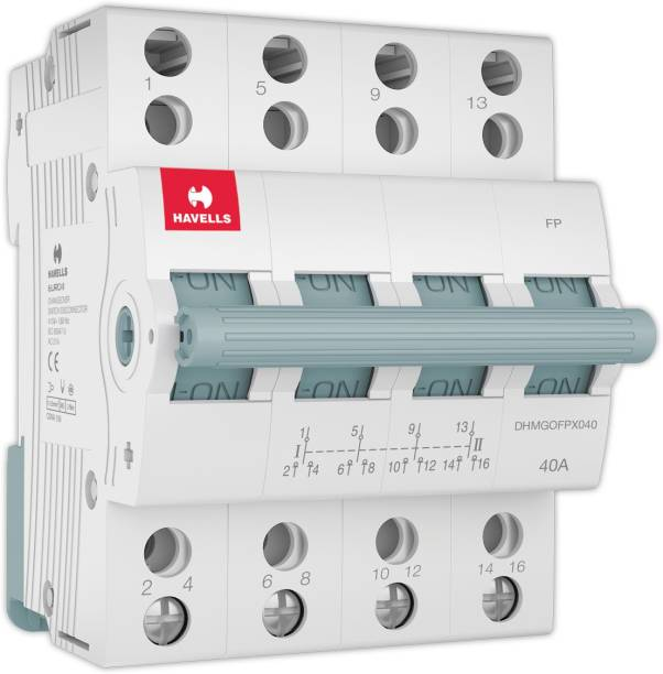 HAVELLS PVC Plastic 40A FP Switch Disconnector Euro 2 (White) DHMGIFPX040 MCB