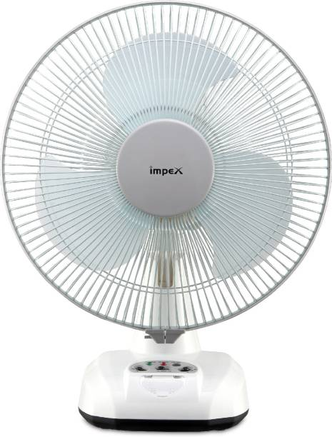 IMPEX Solar Rechargeable Fan (BREEZE D3) with LED Light 3 Speed Mode 305 mm 3 Blade Table Fan