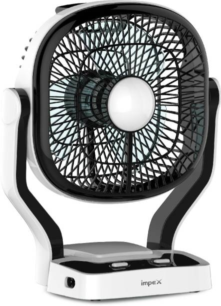 IMPEX Solar Rechargeable Fan (BREEZE D1) with LED Light Dual Speed Mode 7 mm 3 Blade Table Fan