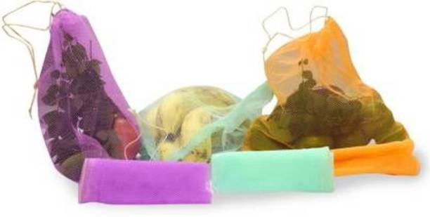 Shri Ashu Creation (Pack Of 9) Multi-purpose Vegetables Fruits Mesh Fridge Storage Washable pull string Bags