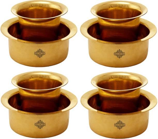 IndianArtVilla Brass Coffee Filter Davara Coffee Maker , Home Hotel Restaurant, 175 ML, Gold, Set of 4 Indian Coffee Filter
