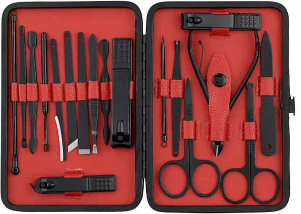Beauté Secrets Manicure Set, Manicure kit for women, Pedicure kit 18 in 1 Nail Scissors Grooming Kit with Black Leather Travel Case, Red