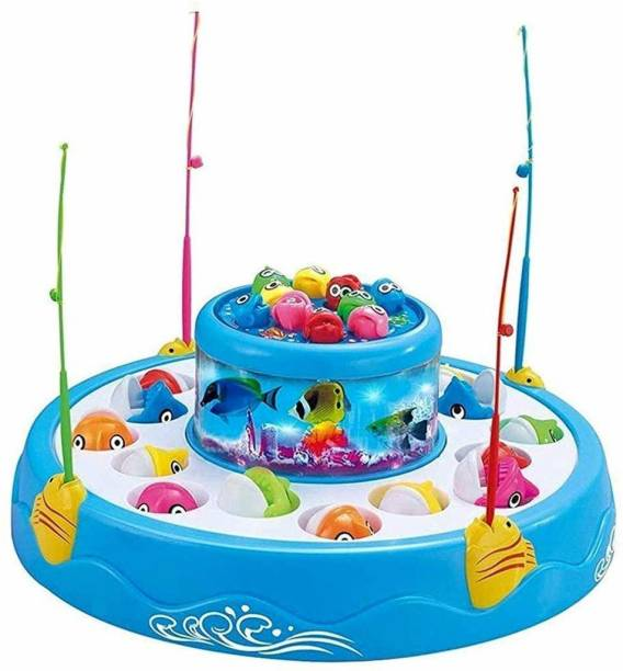 shinetoy Fishing Fish-Catching Game with 26 Piece Fishes, 2 Rotary Ponds and 4 Pods with Music and Light Function (Multicolour)