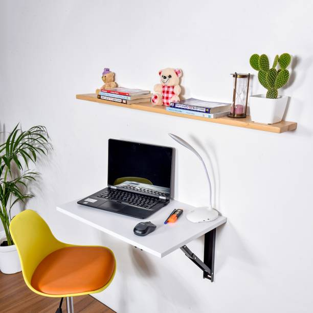 QARA Folding Wall Mounted Study Table /Office Table Stand/Laptop Table Foldable/Work Table for home Office (Matt White - 60 cm x 40cm ) Solid Wood Study Table