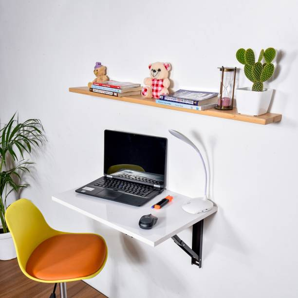 QARA Folding Wall Mounted Study Table /Office Table Stand/Laptop Table Foldable/Work Table for home Office (Glossy White - 60 cm x 40cm ) - 100% Made in India Solid Wood Study Table