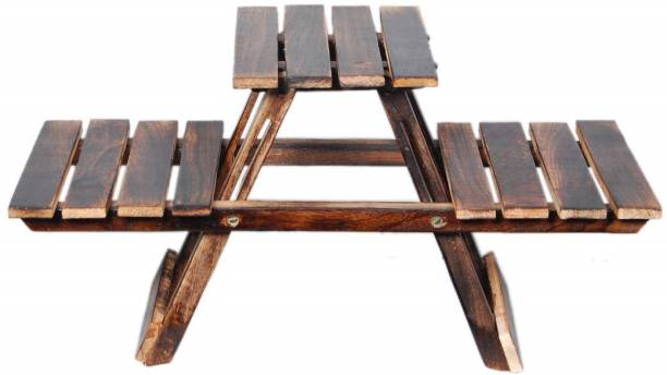 SZHC Vintage Wooden Multipurpose Folding Rack/Plant Stand with 3 Decks/Living Room Side Stand/Wooden Stool/Flower Pot Stand/Vase Stand Plant Stand for Garden and Outdoors Plant Container Set