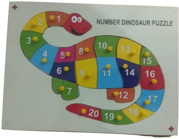 GKids Premium Quality non-Toxic Wooden Multicolor 1 to 20 Number with Shape Dinosaur Picture and Knob for Learning & Educational Gift for Kids