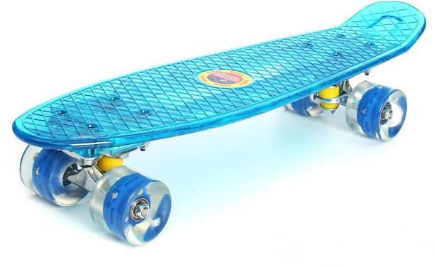 Zoozi Skate Board With LED Flashing Wheels Blue 3.93701 inch x 23.622 inch Skateboard