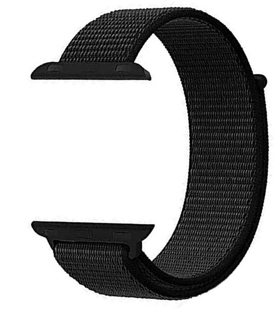 WEWIN Woven Nylon Sport Loop Replacment Band Strap for Apple Watch 42mm/44mm Series 5/4/3/2/1 (Jet Black) Smart Watch Strap