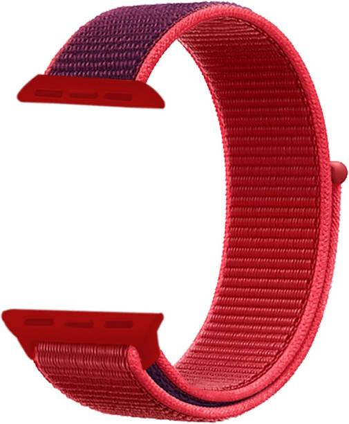 WEWIN Woven Nylon Sport Loop Replacment Band Strap for iWatch Apple Watch 38mm/40mm Series 5/4/3/2/1 (Red) Smart Watch Strap