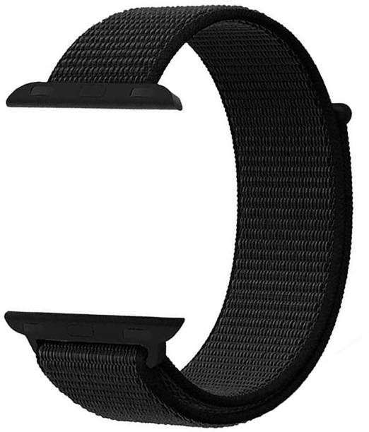 WEWIN Woven Nylon Sport Loop Replacment Band Strap for iWatch Apple Watch 38mm/40mm Series 5/4/3/2/1 ( Jet Black) Smart Watch Strap