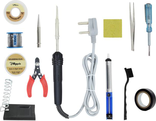 Hillgrove 13in1 Beginners Complete 30W Soldering Iron Kit with 5 Meter Solder Wire, ESD Brush, Scrub, Pump, Cutter, Tester, Tweezer, Tape, Bit, Flux 30 W Simple
