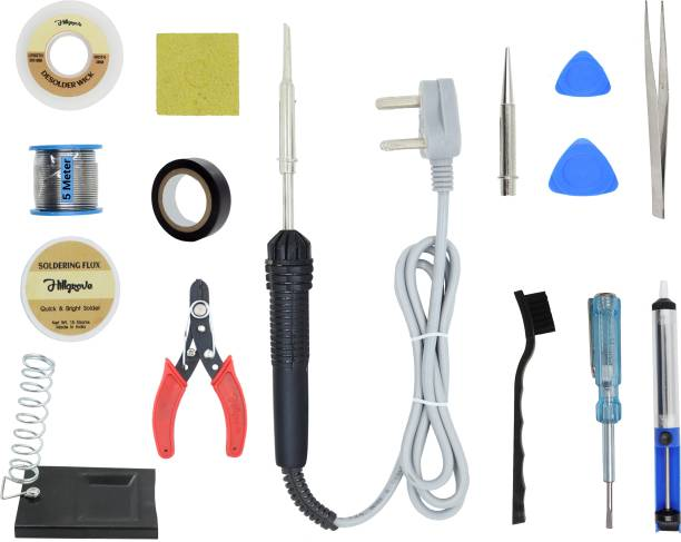 Hillgrove 14in1 Beginners Complete 30W Soldering Iron Kit with 5 Meter Solder Wire, ESD Brush, Scrub, Pump, Cutter, Tester, Tweezer, Tape, Bit, Flux 30 W Simple