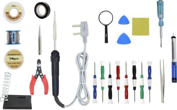 Hillgrove 23in1 Beginners Complete 30W Soldering Iron Kit with 5 Meter Solder Wire, Scrub, Pump, Cutter, Tester, Tweezer, Tape, Bit, Flux,Screwdriver,Mobile Opener 30 W Simple